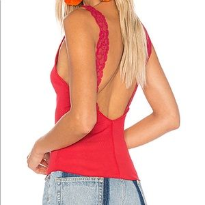 NWT Free People Flipside Red Lace Tank